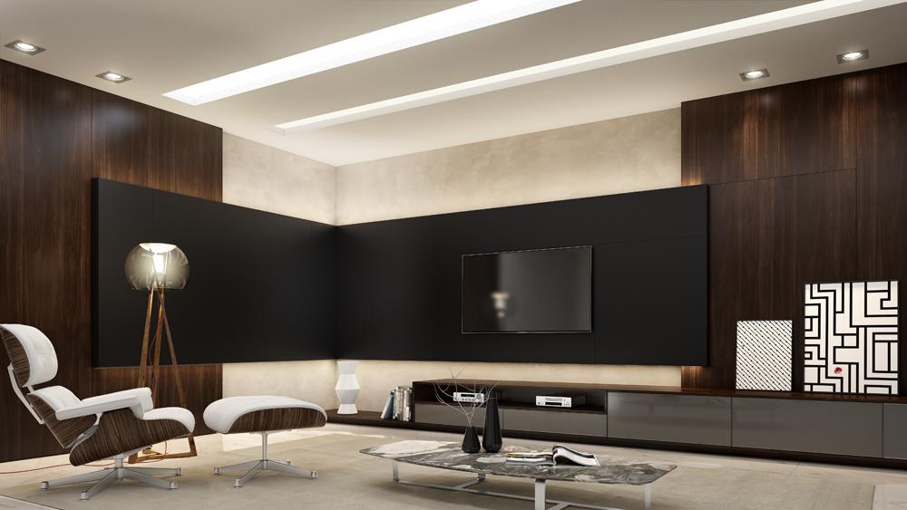 Móveis planejados para Home theater GrayTPGrafit Legno-Colore-Nero