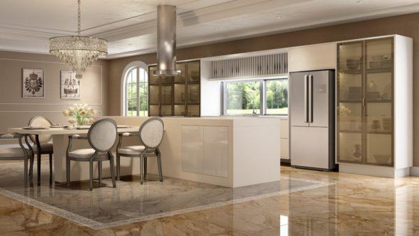 Móveis planejados para Cozinha Laccato-Trama-Colore-Champagne-